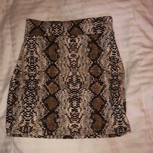 Bodycon Snake Skin Print Mini Skirt